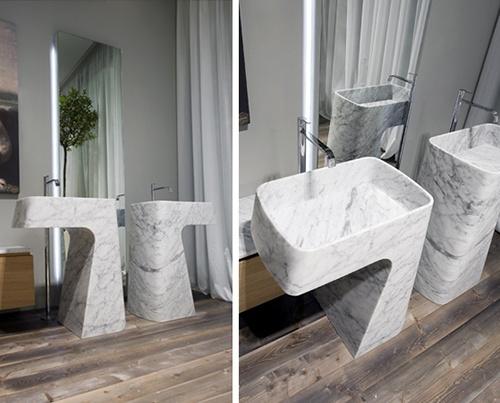 Beautiful carrara marble sink design by antonio lupi