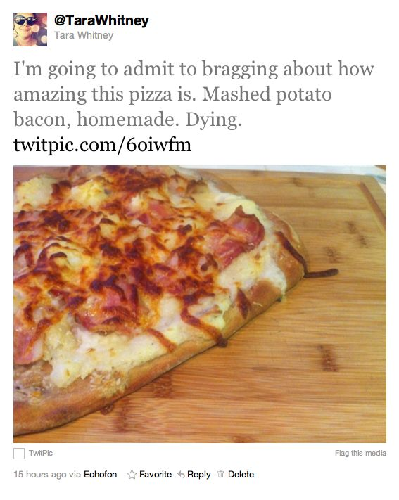 Mashed Potato Bacon Pizza Recipe from Tara Whitney's Blog. Her version ...