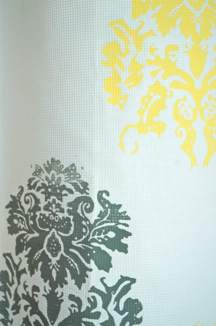 White Yellow And Grey Shower Curtain With Mantra Print