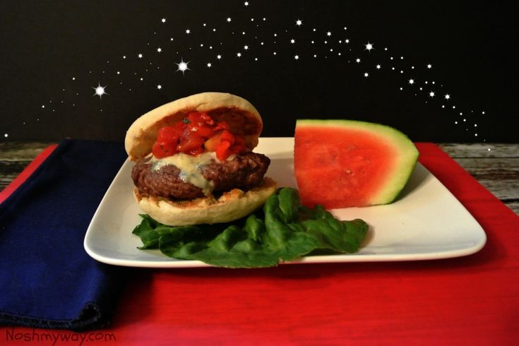 Red, White and Blue Cheese Burgers | Recipe