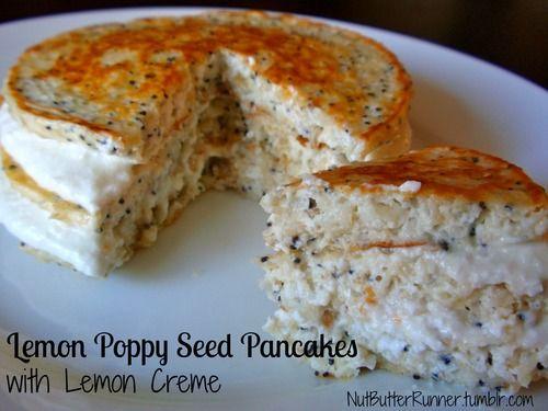 Lemon Poppy Seed Pancakes With Lemon Creme