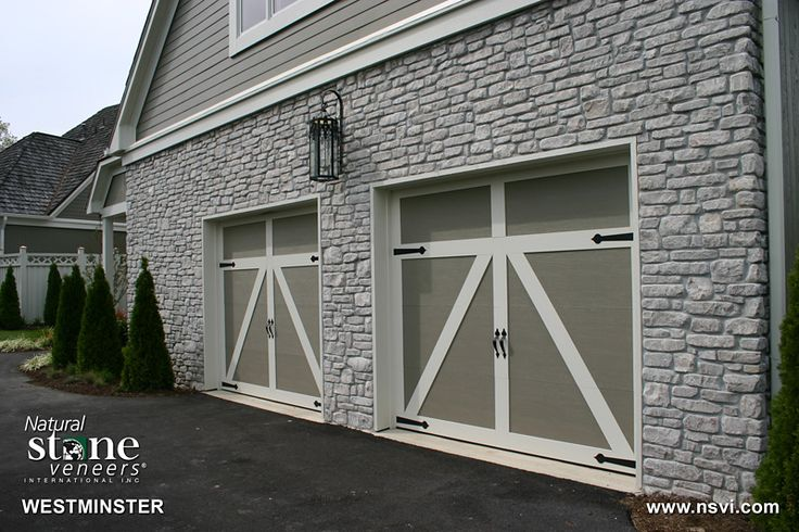 Stone with barn garage doors farmhouse style pinterest for Farm style garage doors