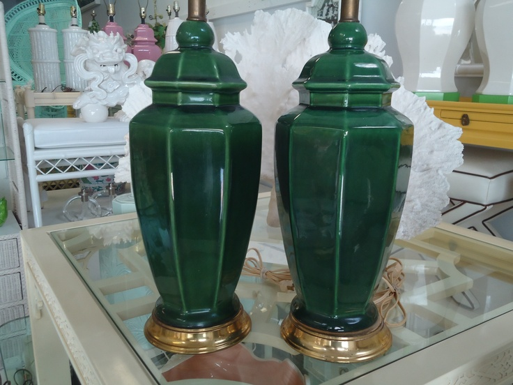 Emerald Green Ginger Jar Lamps for the dining room