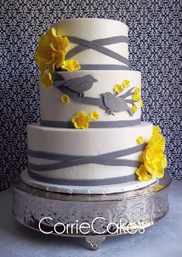 yellow gray bird theme wedding cake cupcake decor ideas pintere