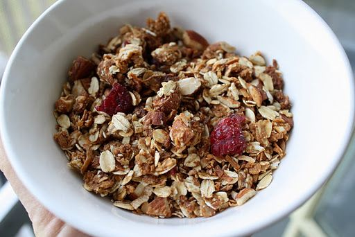 peanut butter and honey granola Next time: less almonds, more peanut ...