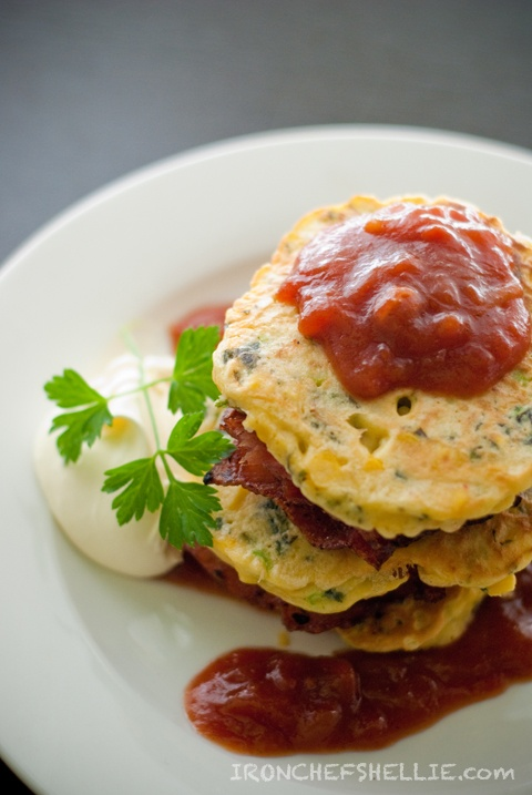 ... of Champions} Corn Fritters with Bacon, Tomato Chutney & Sour Cream