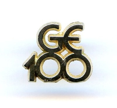 """1970s """"GE 100"""" General Electric 100th Anniversary Gold Tone Lapel Tie Tac Pin  $12.95"""
