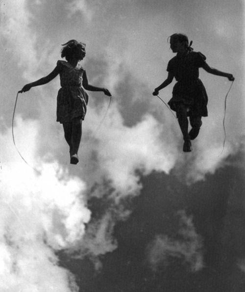 #photo #manipulation #girls #jumprope #black #white