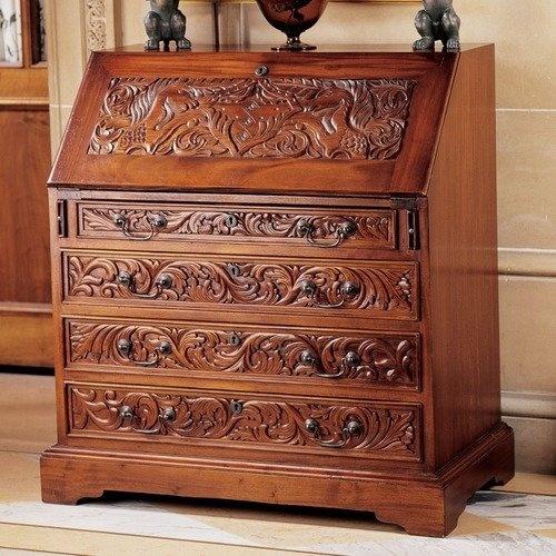 Carved Unicorn drop front secretary desk | Furniture | Pinterest