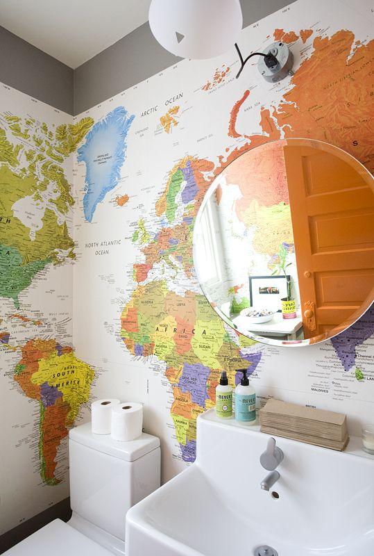 Map bathroom for kids bath