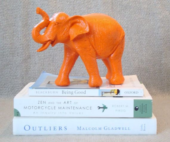 orange elephant  neon animal decor
