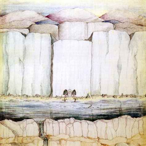 Crayon drawing of the West Gate of Moria by J.R.R. Tolkien. On the western side of the Misty Mountains, by which the Fellowship of the Ring entered the Mines: cf. The Fellowship of the Ring, Book II, Chapter 4, A Journey in the Dark:    'Beyond the ominous water were reared vast cliffs, their stern faces pallid in the fading light: final and impassable.
