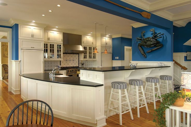 Beach chic nautical kitchen nautical beach house for Nautical kitchen designs