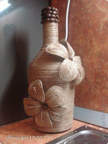 Мастер-класс декор бутылок шпагатом