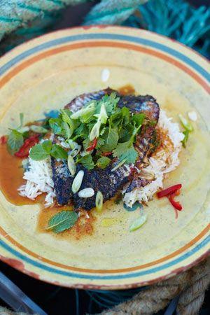 Crispy-skinned mackerel with Asian-inspired dressing, with fluffy ...