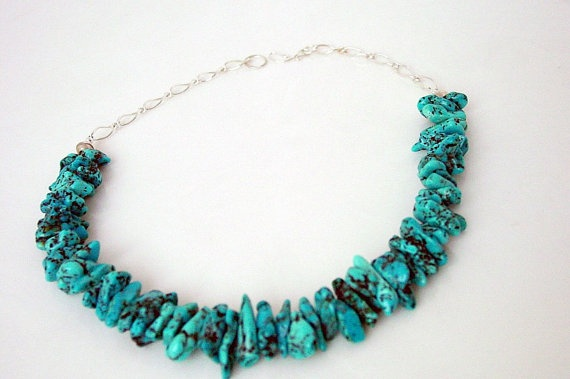 Turquoise Chunky Sterling Necklace by ResaArtDesign on Etsy, $250,00