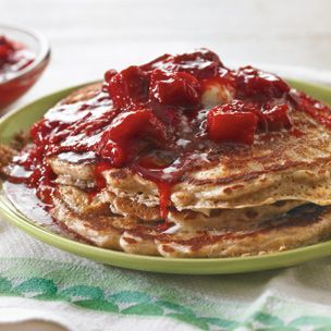 Whole Wheat Pancakes with Strawberry-Rhubarb Compote | Williams-Sonoma
