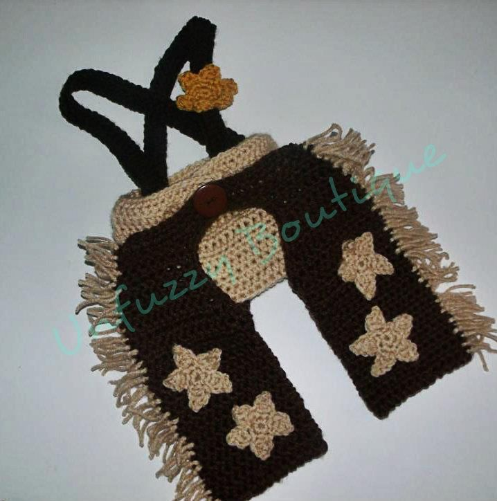 FREE - Crochet pattern for cowboy set. Diaper cover and chaps.