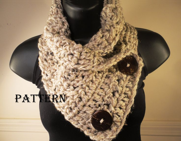 Crochet Pattern For Cowl Scarf : Crochet Pattern Scarf Cowl Neckwarmer with Buttons