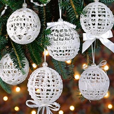 Free Crochet Thread Christmas Ornament Patterns : Christmas Snowballs Thread Crochet Patterns ePattern