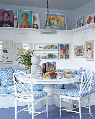 A whimsical blue-and-white breakfast nook in the kitchen of Aerin Lauder's Manhattan apartment.