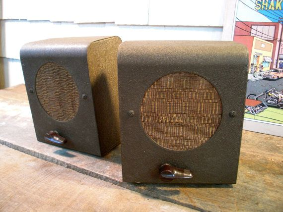 Reserved For Rachel Vintage Speakers Pair Small 1950s