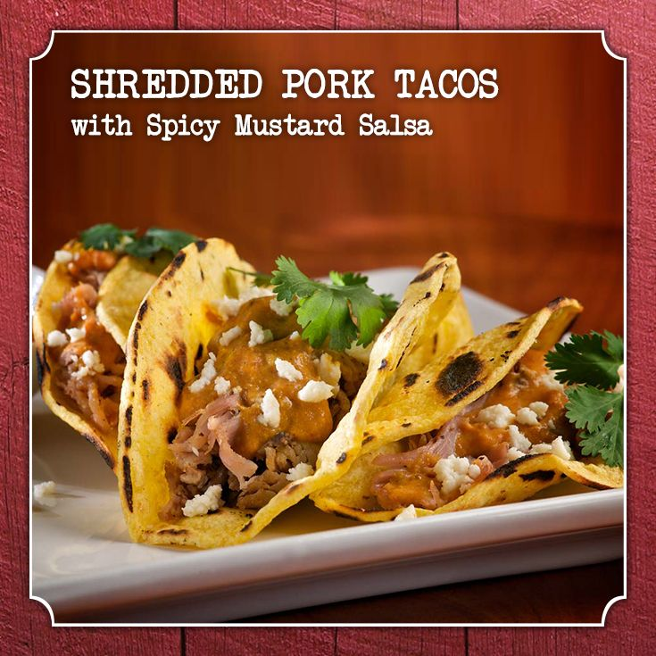 Shredded Pork Tacos with Spicy Mustard Salsa #recipe #Frenchs # ...