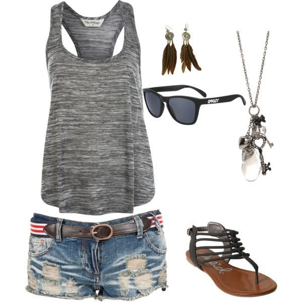gray racer-back tank, denim shorts, strappy gladiator sandals & silver charm necklace