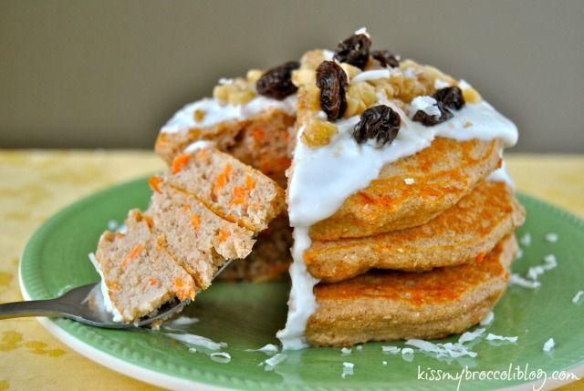 Carrot Cake Protein Pancakes (Gluten-Free) @Heather @ Kiss My Broccoli