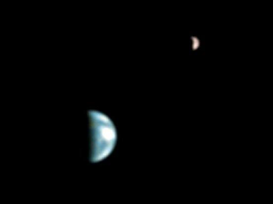 moon shots of earth and mars -#main