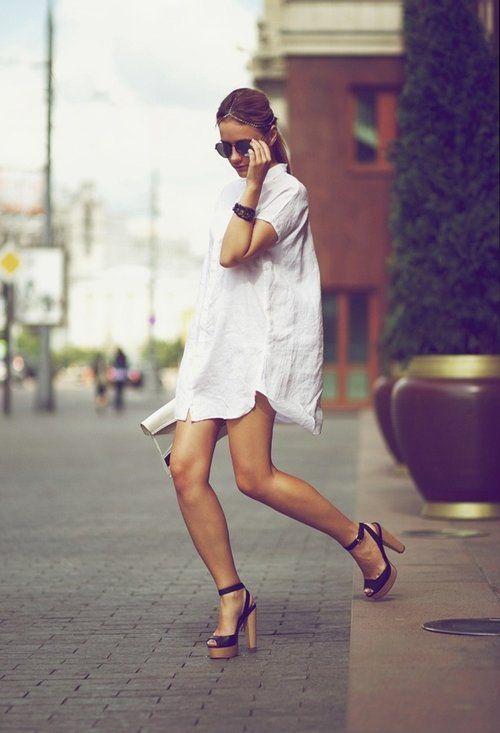 long shirts + heels