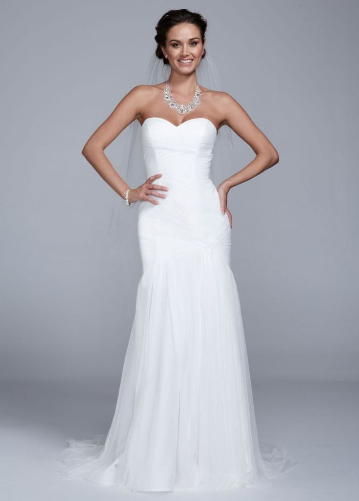 Sweetheart tulle trumpet gown david 39 s bridal our for Tulle trumpet wedding dress