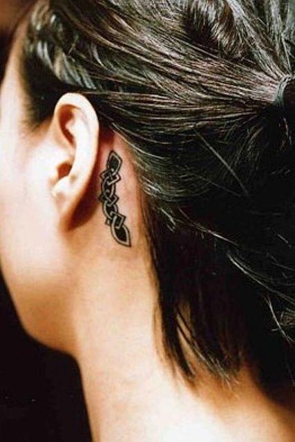 Celtic Tattoo Behind Ear
