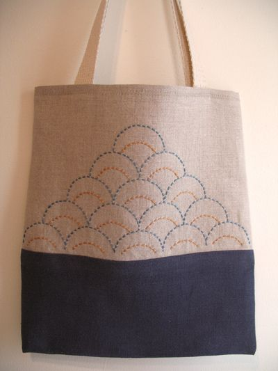 Ocean Waves bag. Linen fabric, cotton straps, DMC perle cotton embroidery thread.