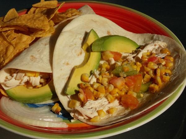Shredded Chicken Tacos With Tomatoes and Grilled Corn | Recipe