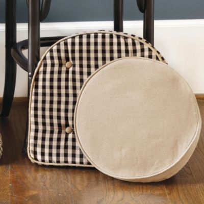 essentials round stool cushion cover black white check chair cushion