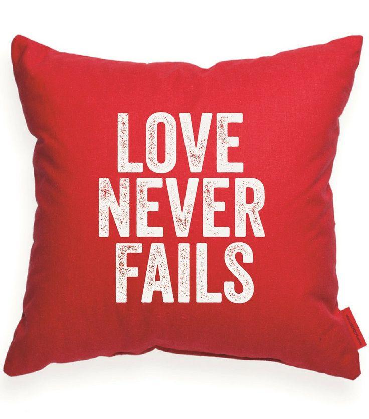 Love Never Failes Red Throw Pillow