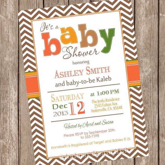 fall baby shower invitation orange brown green autumn baby shower