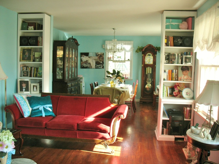 Tiffany blue living room for when were no longer renters