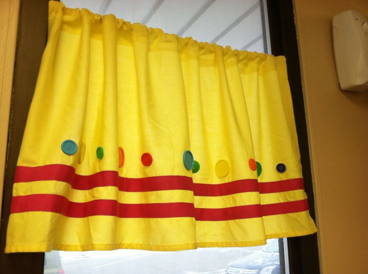 Homemade curtains for our classroom love these terry