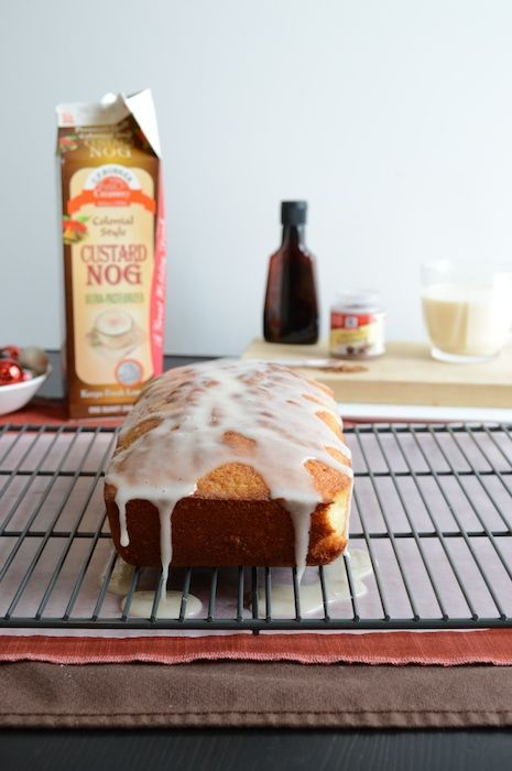 whipped eggnog loaf cake with eggnog glaze