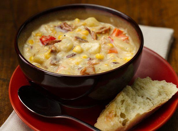 Slow Cooker Bacon & Corn Chowder - 1/2 lb bacon, cut into 1-inch ...