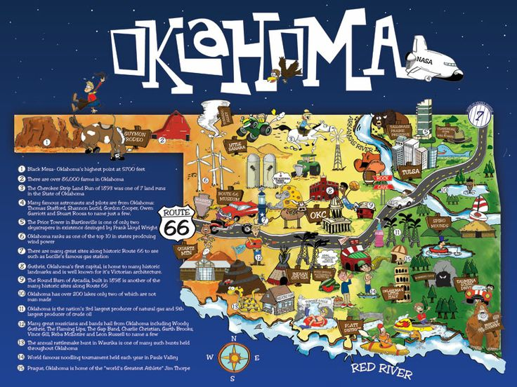 illustrated cartoon oklahoma map 50 states of usa pinterest