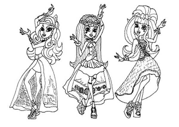 Dracalura clawdeen and frankie 13 wishes monster high for Monster high coloring pages 13 wishes