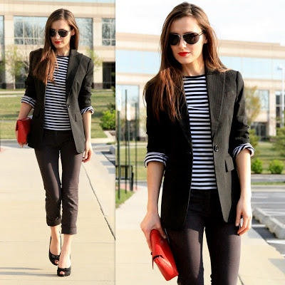 stripes / blazer / pop of red