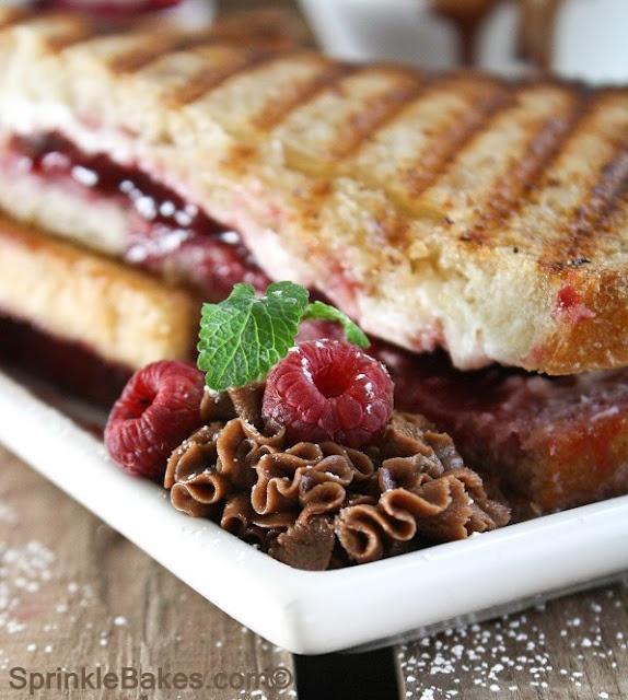 Raspberry Cream Cheese Paninis with Chocolate Ganache Dipping Sauce ...