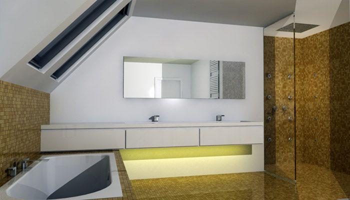 Badkamer Schuine Wand : Moderne badkamer met zwevend badkamermeubel en ...