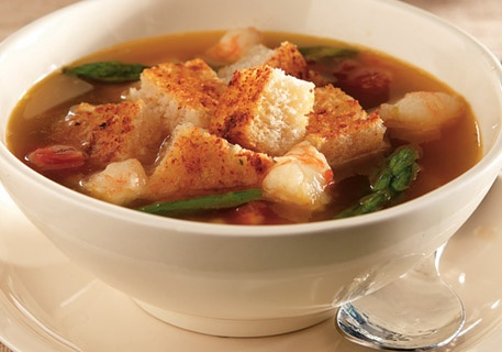 ... with shrimp and top with Parmesan croutons to make a scrumptious soup