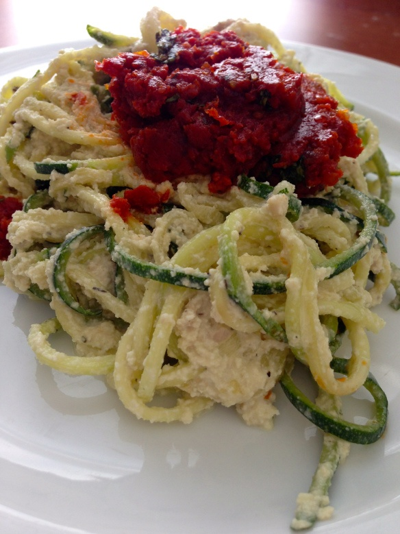 Cheesy Zucchini and Sun-Dried Tomato Topping