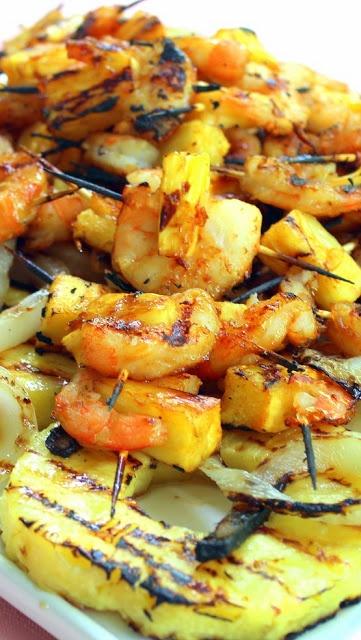 Grilled Teriyaki Pineapple Shrimp Appetizer | Zappetizers | Pinterest